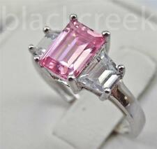 3tc. Pink & White C.Z. 925 Sterling Silver 3-Stone Engagement Ring Size 6.25