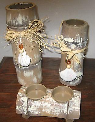Set Leuchter Maritim 3 tlg Bambus maritime Dekoration für Teelicht #203278