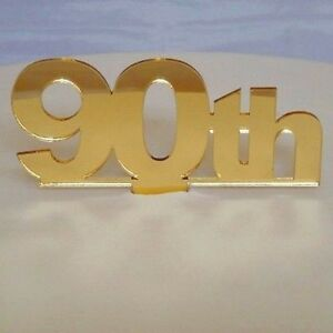 Image Is Loading 90th Birthday Cake Topper Mirrored Gold