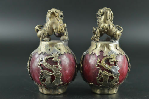 China Old Miao Silver Carve Kylin Dragon Phoenix Inlay Red Jade Rare Pair Statue