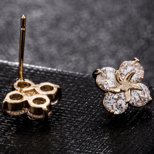 Ein Paar Exquite Ohrringe stilvolle Blumen mit zarten Zirkon Ohrstecker-ERZ0414
