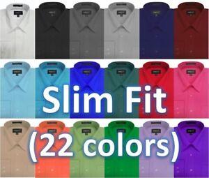 NWT-Mens-Solid-Slim-Fit-Dress-Shirt-22Colors
