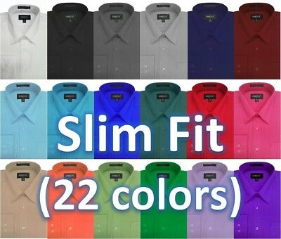 NWT Mens Solid Slim Fit Dress Shirt, 22Colors