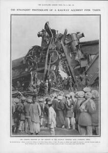 1908-Antique-Print-INDIA-Railway-Accident-Ludhiana-Engines-Collision-96