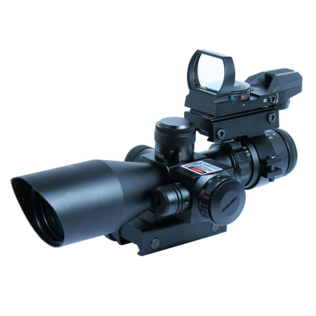 2.5-10X40 Tactical Rifle Scope with Red Laser-Holographic Green-Red Dot Sight