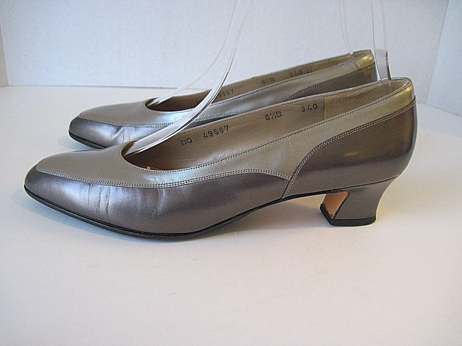 Salvatore Ferragamo B, Pewter Silver Leather Heels Size 6 1/2 B, Ferragamo Have Been Resoled 393aa9