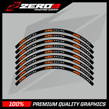 "KTM EXC 125 250 300 350 450 MOTOCROSS RIM DECALS Graphics 21"" 18"" Black/Orange"