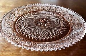 Platter-By-034-Tiara-034-Pink-Peach-Sandwich-Glass-12-034