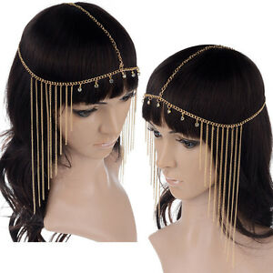New-Rhinestone-Tassel-Forehead-Hair-Head-Side-Wave-Chain-Headband-Headpiece-Band
