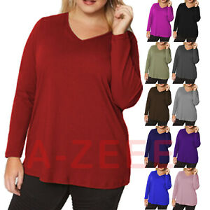 Ladies-Long-Sleeve-top-Womens-V-Neck-Casual-Plus-Size-Blouse-T-Shirt-Tee-Tops