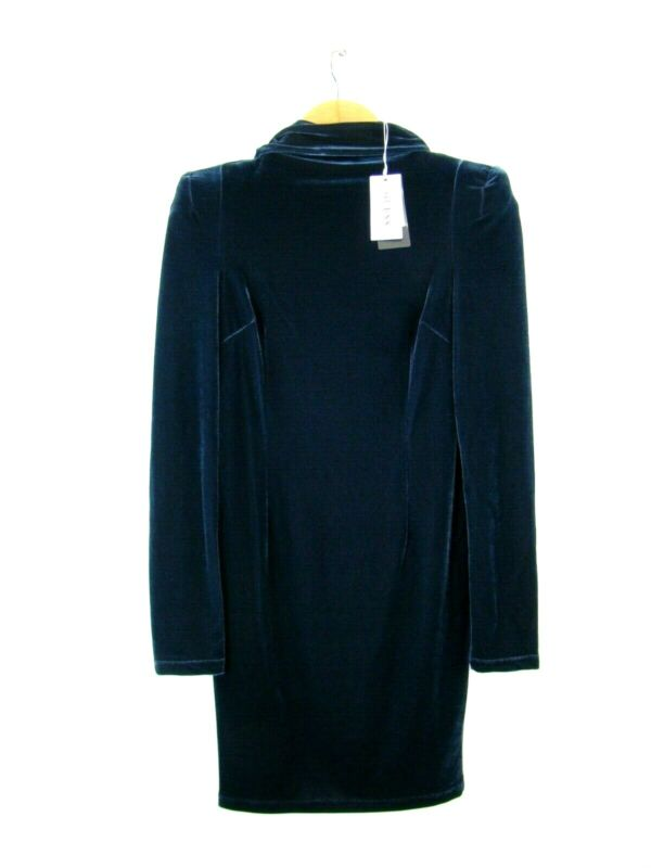 7735 Guess Samtkleid S Neu Schulterpolster Samt Kleid Hochgeschlossen Mini Blau