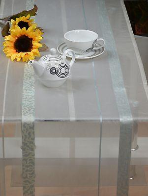 Tischläufer Poros Tischband Läufer ca. 45 x 145 cm Ecru/Türkis