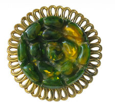 Vintage Bakelite Pin Brooch Clip deeply turtle carved Art Deco green marble
