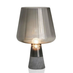Image Is Loading Modern Cement Base Table Lamp Glass Shade Bedroom