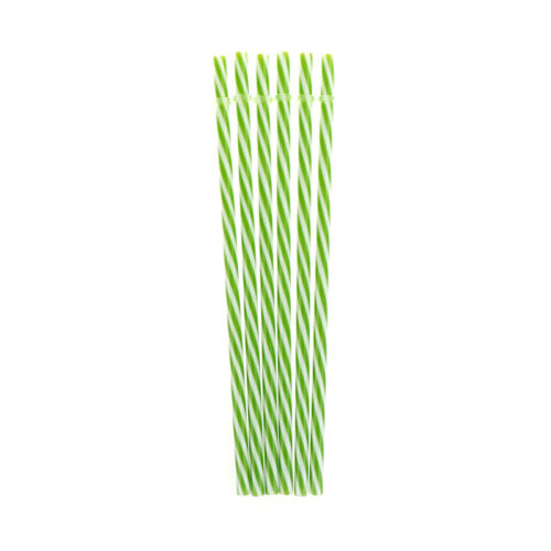 6pcs Two Colors Thread Pattern Reusable Plastic Thick Drinking Straws H/'UK