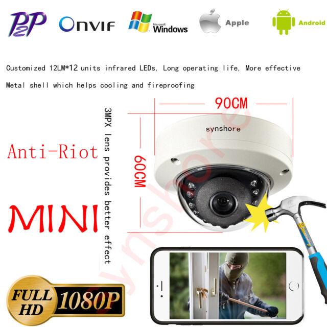 Vandal proof MINI 1080P IP Dome Camera Onvif IR Security CCTV Network P2P IP66