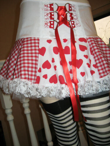 NEW Adult  Red White Hearts check lace Corset Tutu Skirt Rock lolita all sizes