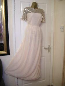 12-ASOS-MAYA-WEDDING-NUDE-MAXI-DRESS-EMBELLISHED-TOP-CHIFFON-SUMMER-BALL-NEW