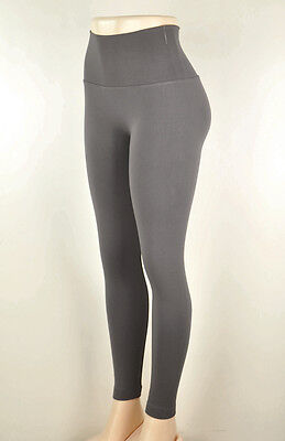 Tummy Tuck Seamless High Waisted Fleece Lined Stretchy Winter Leggings Gray