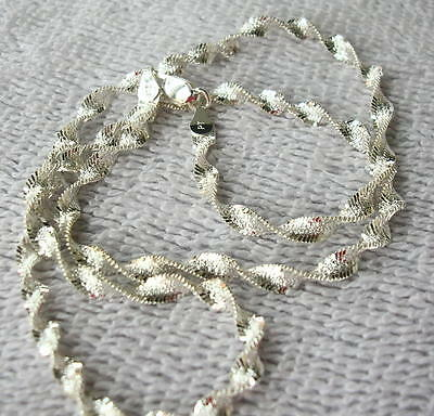 Sterling Silver Twisted Herring Bone 16 inch Chain, Italy 4mm 7.4 grams