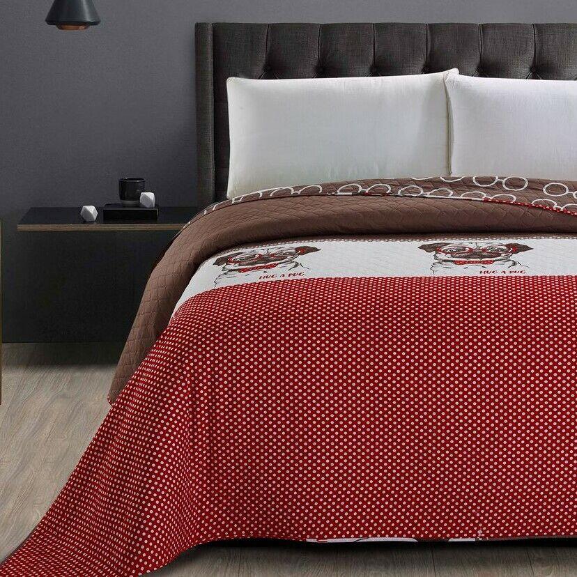 Bettüberwurf Tagesdecke rot braun doppelseitig Bettüberwurf Größe wählbar