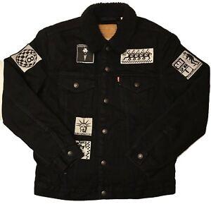 outlet for sale numerousinvariety detailed pictures Details about LEVIS PREMIUM Punk Patches Denim/Sherpa Trucker Jacket -  Black (MEN'S MEDIUM) M