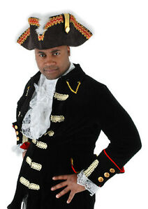936d4a22d68 Pirate Hat The Gov nah Blk Faux Suede Tricorn Hat With Red   Gold ...