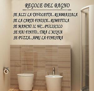 Wall stickers murali regole del bagno adesivo casa toilet for Stickers murali cucina