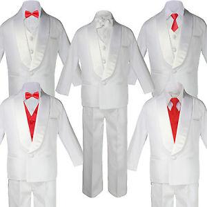 5-7pc BABY White Formal Shawl Lapel Suit Tuxedo Red Satin Bow Necktie Vest
