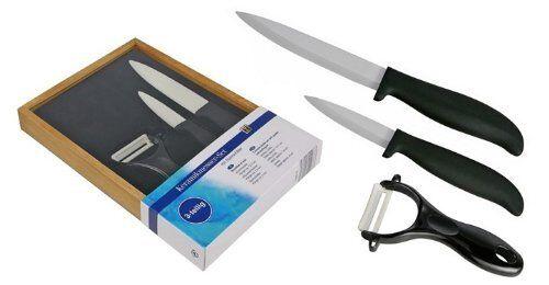 Keramikmesser Set mit Sparschäler 3tlg Messer Set Geschenk Holzverpackung