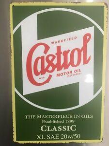Retro Sign Motor Beer Spirits Garage Cave Bar Shed 30cm x 20cm CASTROL CLASSIC