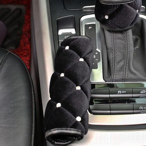 Cute Black Plush Car Handbrake Cover Crystal Accessories Interior Styling-Car