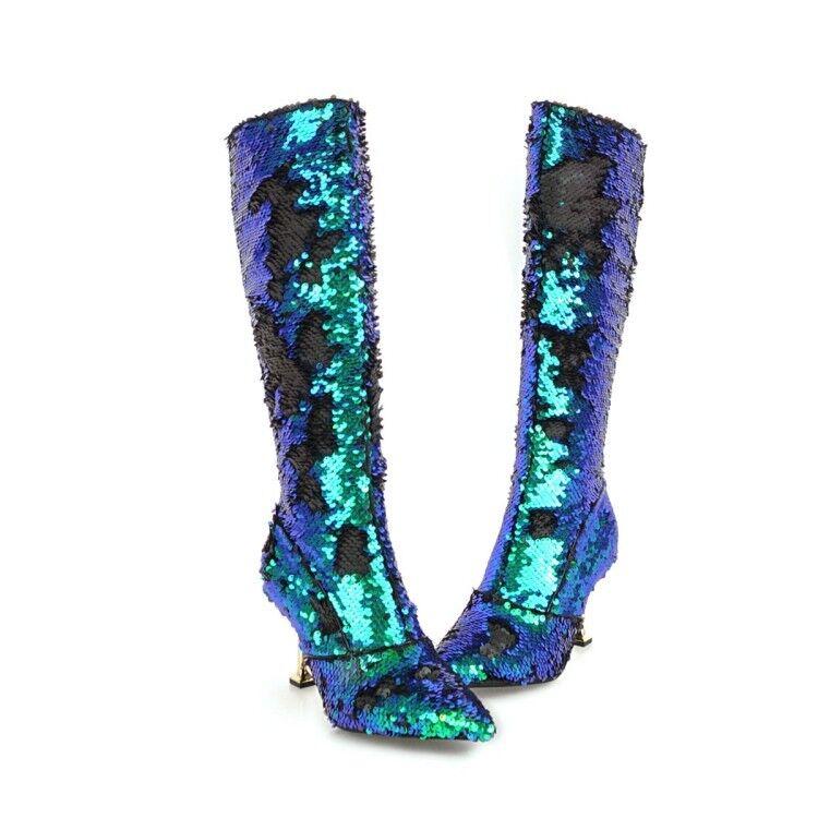 Talla Grande para Mujer Sexy brillos y lentejuelas en Punta 5 Bota De Fiesta Tacones Gatito 5 Punta Colores 5abcfc