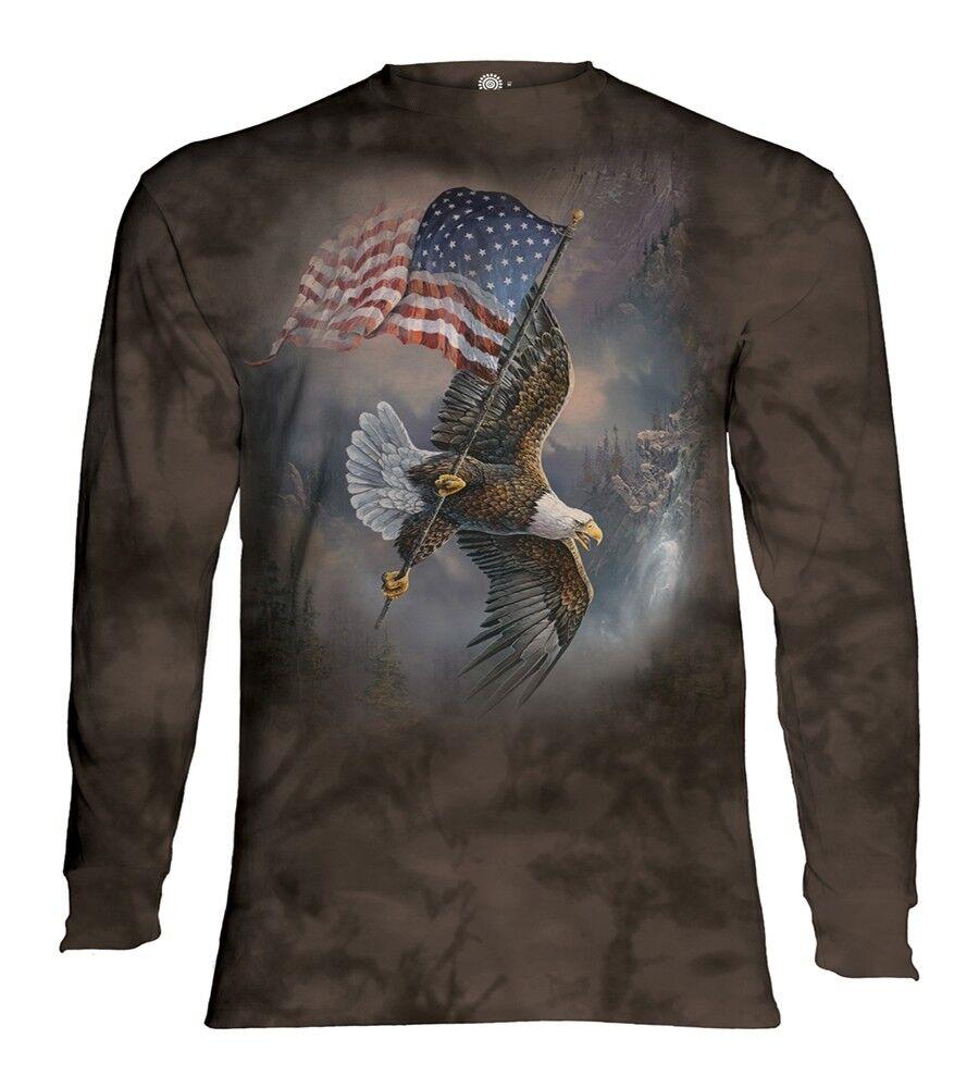 The Mountain Adult Flag Bearing Eagle Bird Longsleeve TShirt