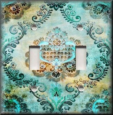 Metal Light Switch Plate Cover - Boho Gypsy Damask Decor Vintage Turquoise Blue