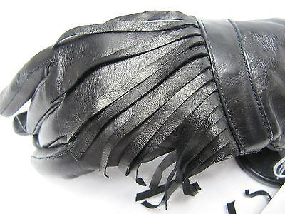 PORTOLANO Leather Lambswool Angora Nylon Women 7 Fringe Black Gloves NWT ITALY