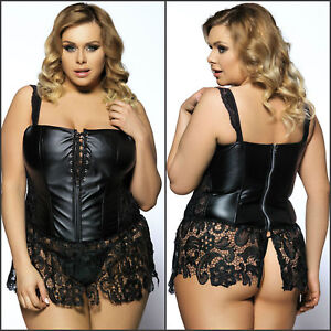 d5547ff5925 Plus Size Women Corset Bustier G String Faux Leather Venice Lingerie ...