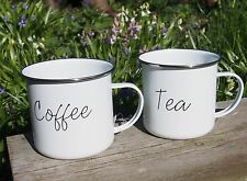 2 x ENAMEL TEA COFFEE MUG CUP WHITE RETRO CAMPING PICNIC TRAVEL TIN VINTAGE