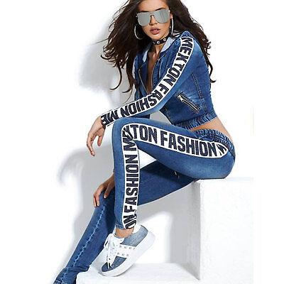 By ALINA Jeans 2-Divisorio Giacca Jeans boyfriendjeans Jeans Pantaloni tempo libero tuta XS-M