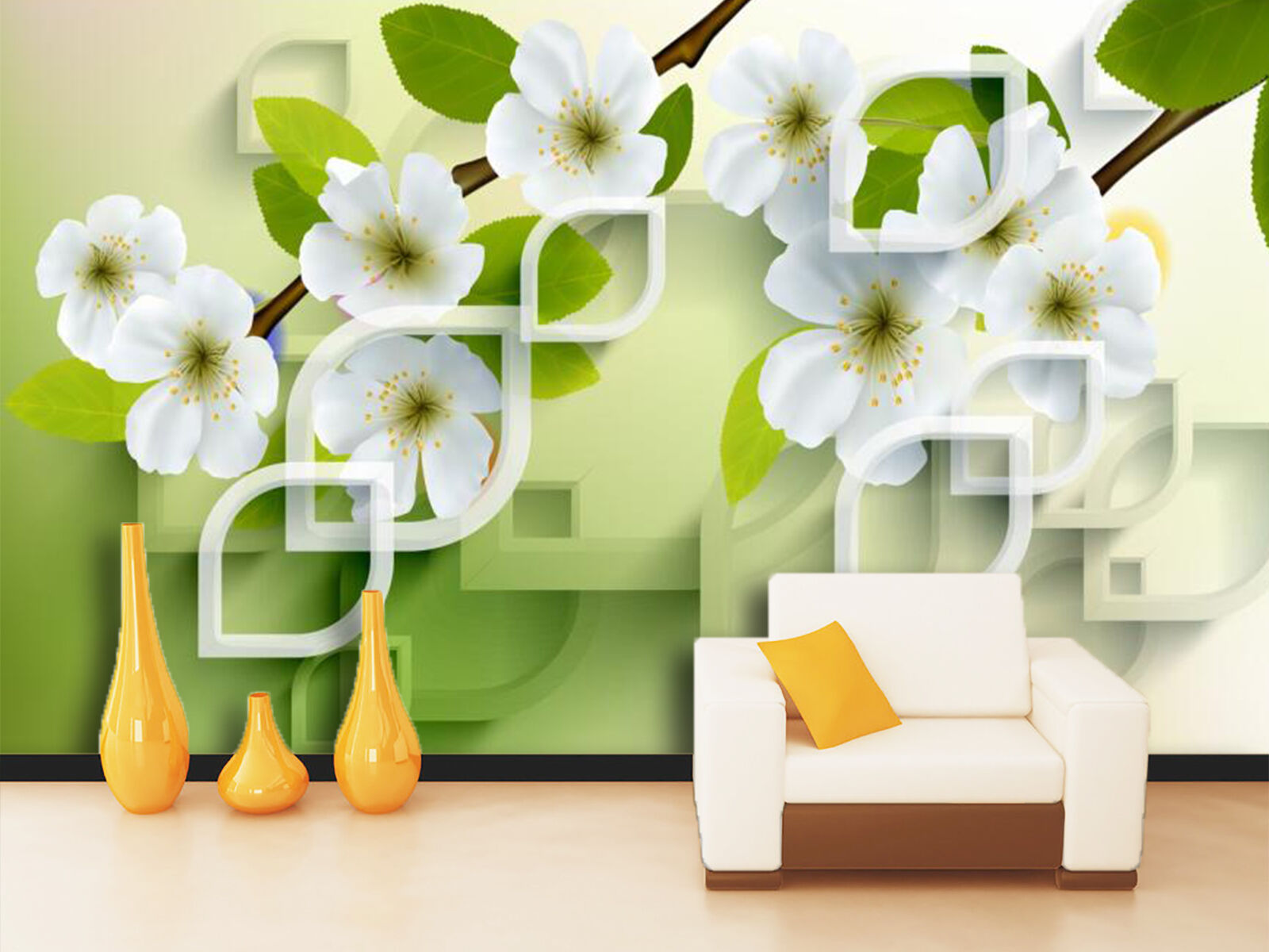 3D Weiß pure flowers Wall Paper Wall Print Decal Wall Deco Indoor Wall Murals