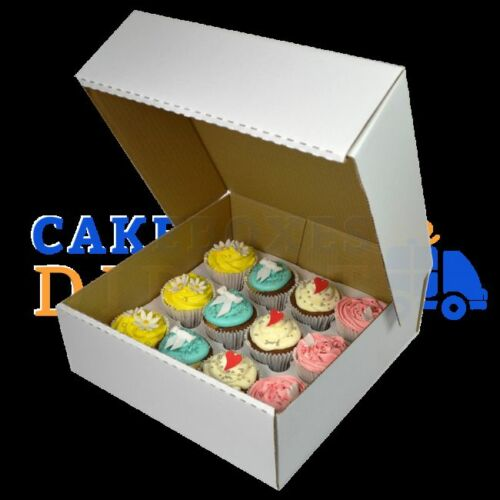 50 X 12 Cupcake Corr White Extra Deep Box with 6cm Div FREE NEXT DAY DELIVERY