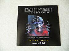 IRON MAIDEN Visions Of The Beast Promo Sticker  Unused