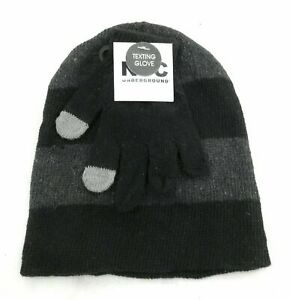 NYC-Underground-Childrens-Unisex-Beanie-and-Gloves-Black-and-Gray-One-Size