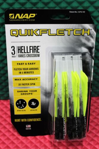 "NAP Quikfletch Hellfire Vanes Crossbow 3/"" Model 6 Pack CHOOSE YOUR COLOR!!"
