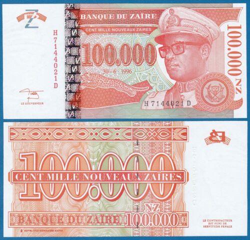 100000 Zaire 100,000 Nouveaux Zaires P 77 1996 UNC Low Shipping Combine FREE