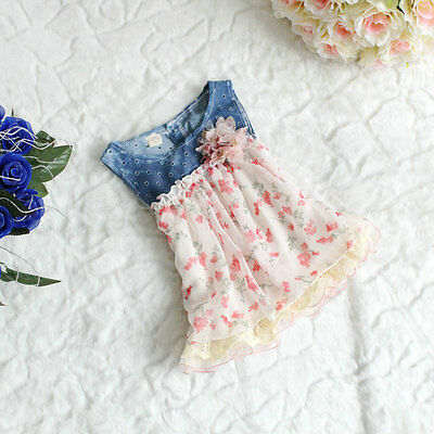 New Summer Baby Girl Denim Hollow Floral Chiffon T-shirt Vest Beach Dress