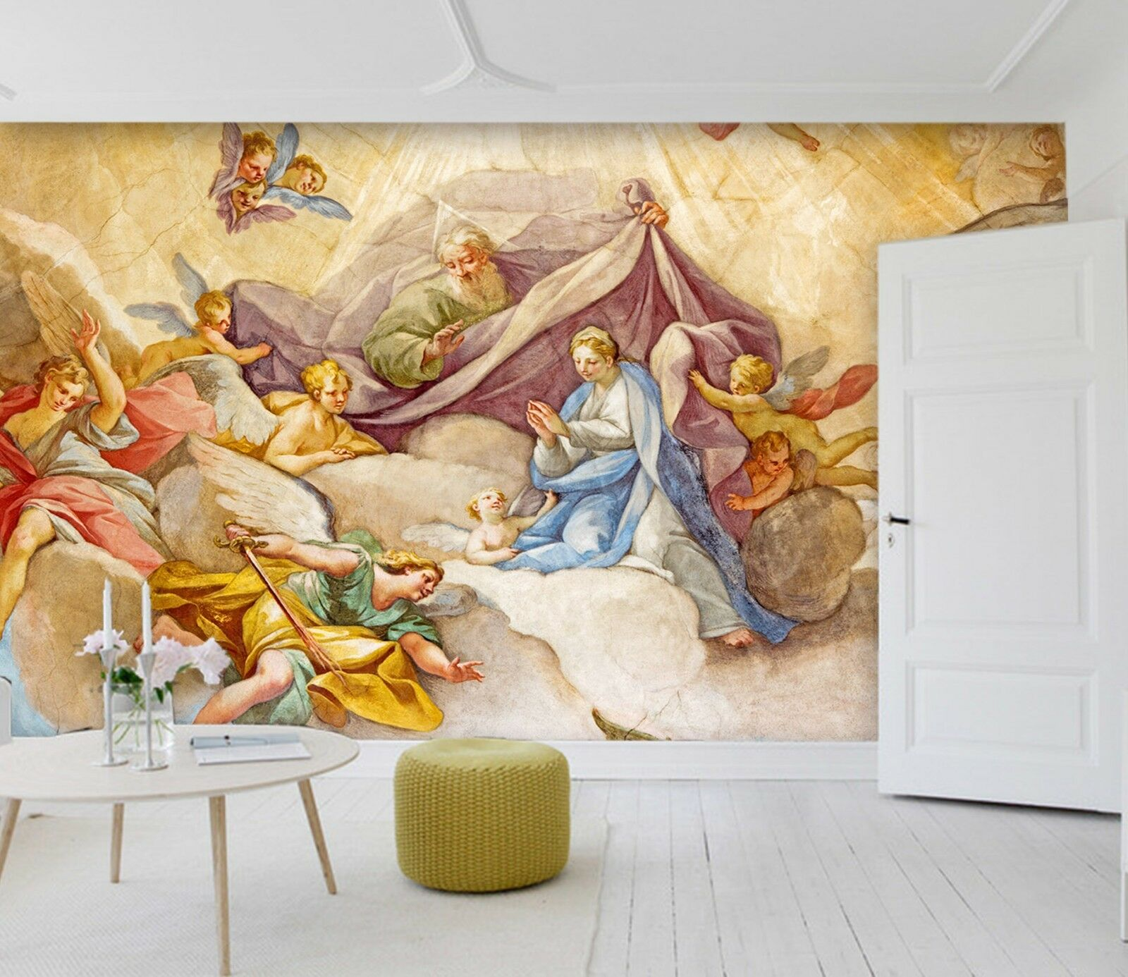 3D Retro Angel Sky Painting 4 Wall Paper wall Print Decal Wall Deco Indoor Mural
