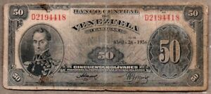 Venezuela UNC Note 50 Bolivares Bs November 1988 Prefix A8 or  X8