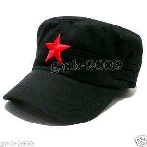 Vintage-Army-Cadet-Military-Cap-Men-Women-Adjustable-Red-Star-Cotton-Hat-Black