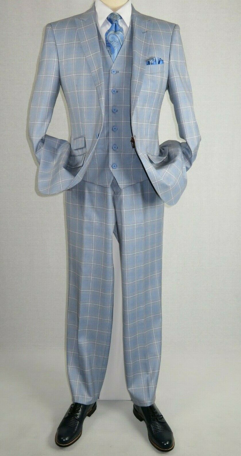 Men Suit Vitali Three Piece Vested English Plaid Window Pane M7175 Sky bluee Tan